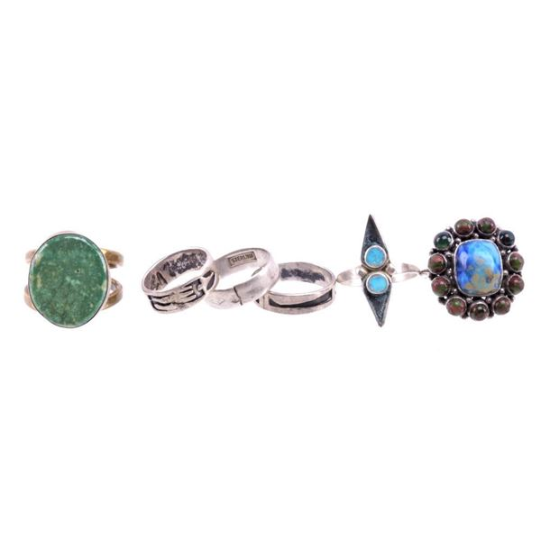 Collection of Various Sterling Navajo Rings