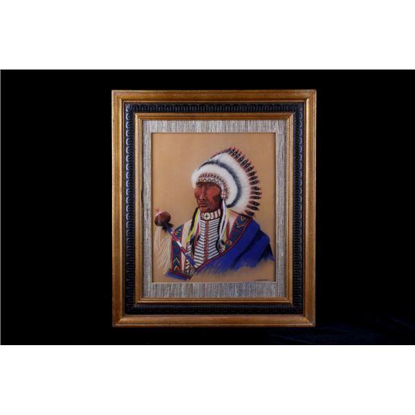 Original 20th C Framed L. Waterman Chalk Pastel