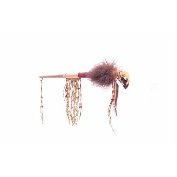 Chippewa Beaded Buffalo Fur Skull Talking Stick