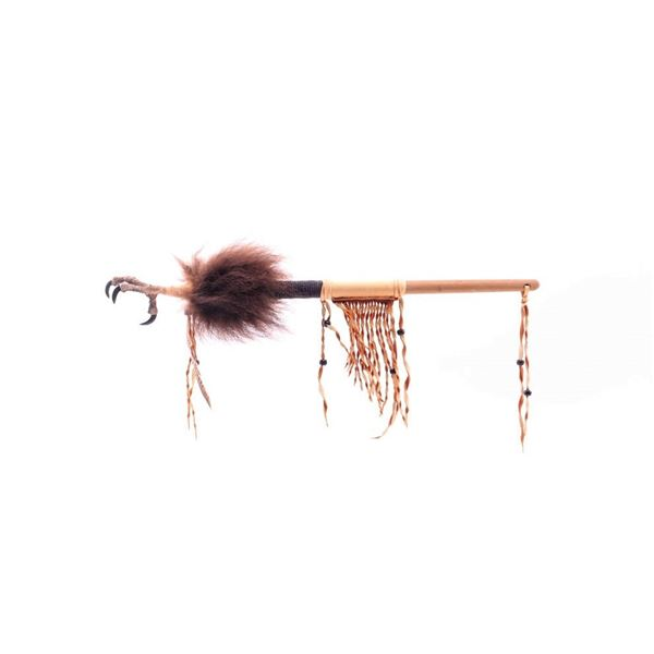 Chippewa Beaded Hide Wrapped Claw Talking Stick