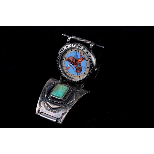 Navajo Sterling Silver & Turquoise Watchband