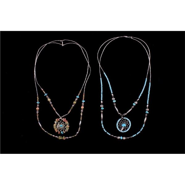 Navajo Silver & Turquoise Dream Catcher Necklaces