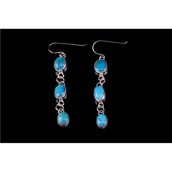 Navajo Sterling Silver & Turquoise Dangle Earrings