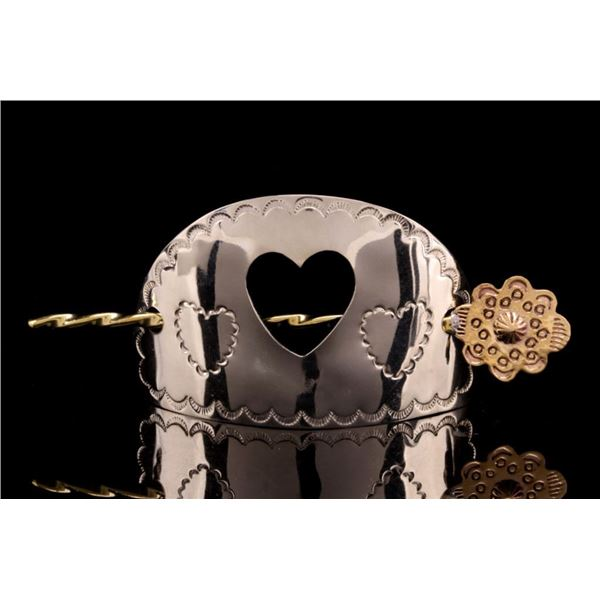 Armand American Horse Silver Brass Heart Barrette