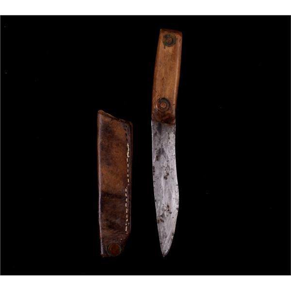 Early Native American Trade Knife & Leather Sheath
