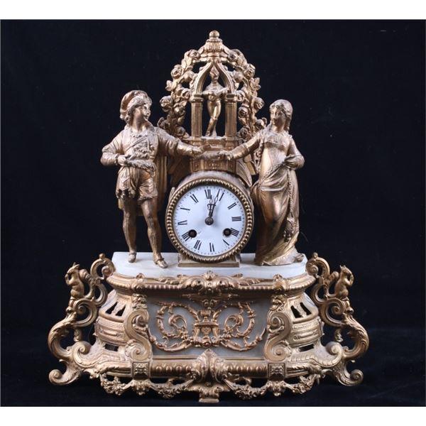 Brass & Glass Cast Figure & Floral Mantle Clock