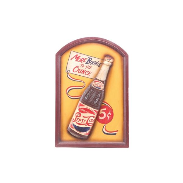 """1950's Pepsi Cola """"More Bounce to the Ounce"""" Sign"""