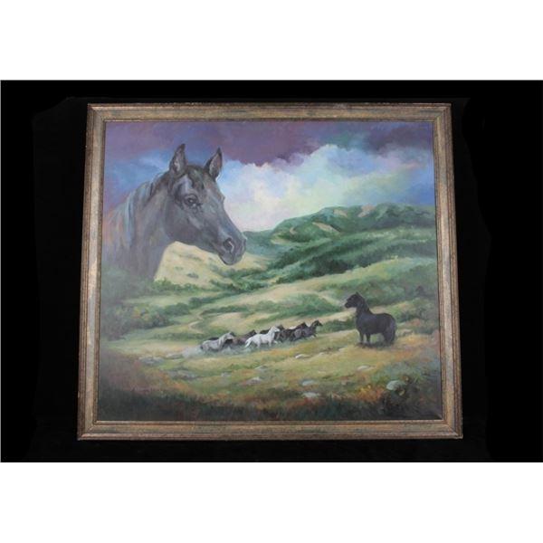 Original Carol Newbury Wild Horses Oil Painting