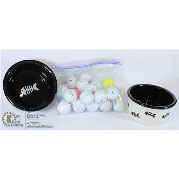 CAT BOWLS X 2 & GOLF BALLS USED