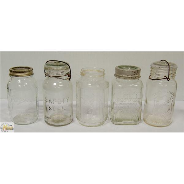 5 OLD MASON / COFFEE JARS