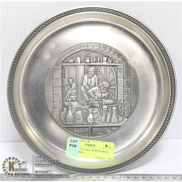 ANTIQUE FIGURAL PEWTER WITH HALLMARKS
