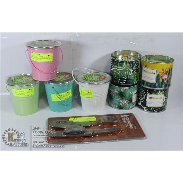 LARGE LOT OF CITRONELLA CANDLES AND MORE.