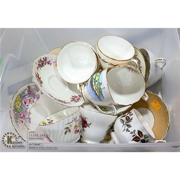11 CHINA TEA CUPS AND SAUCERS
