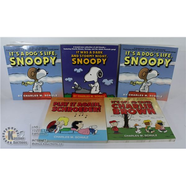 LOT OF 5 CHARLIE BROWN AND SNOOPY BOOKS.