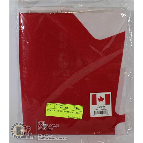 NEW 5 X 3 FOOT CANADIAN FLAGS