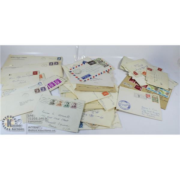 FLAT OF OLD LETTERS /W POSTAGE. ESTATE COLLECTION