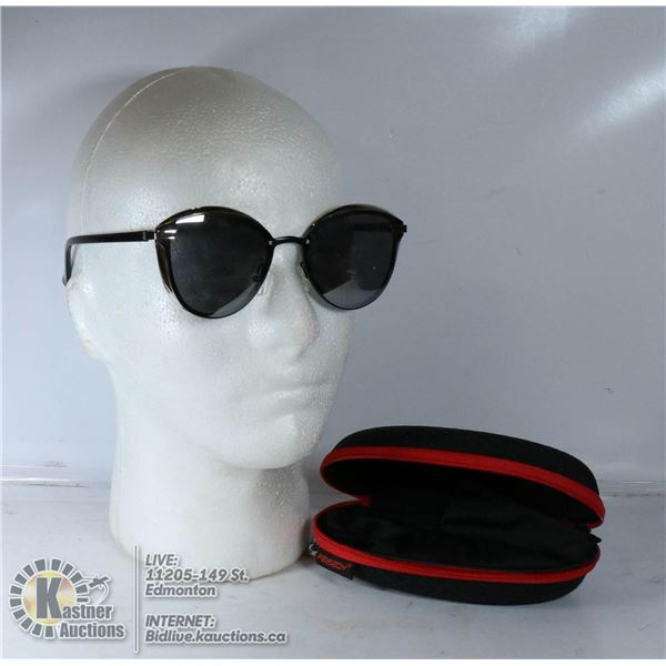 SUNGLASSES WITH HARD AND SOFT CASES.