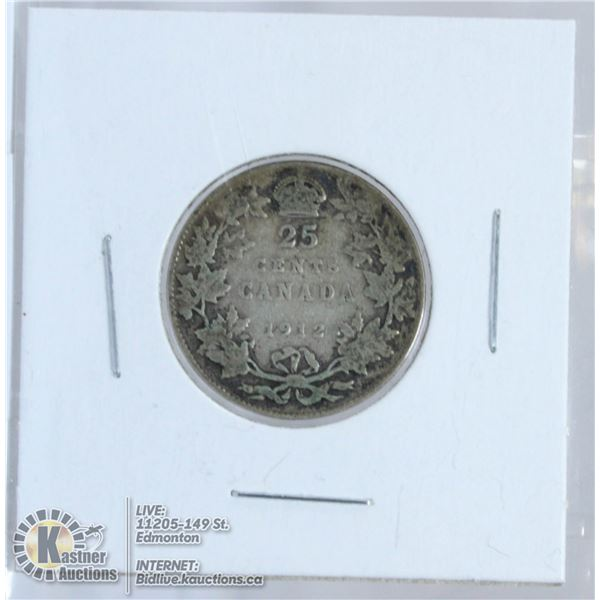 1912 GEORGE V CANADA SILVER 25 CENT