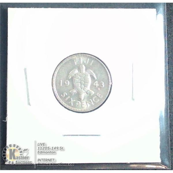 1943 FIJI SILVER 6 PENCE MINTED IN USA