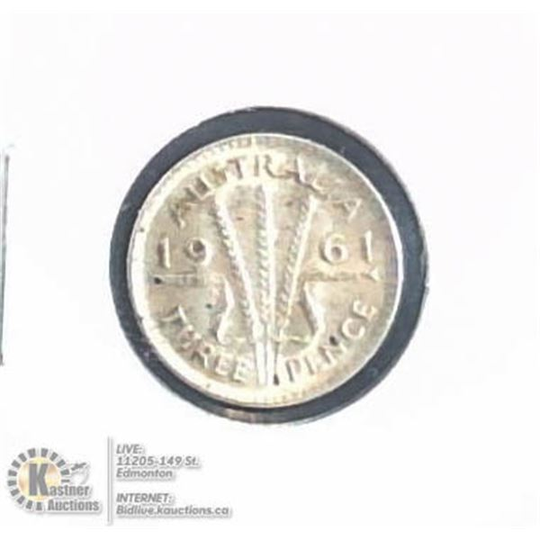 ABOUT UNCIRCULATED 1961 AUSTRALIA SILVER 3 PENCE