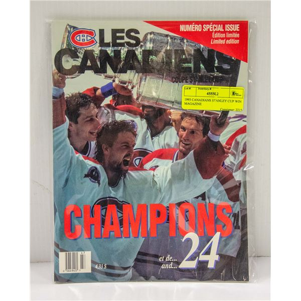 1993 CANADIANS STANLEY CUP WIN MAGAZINE