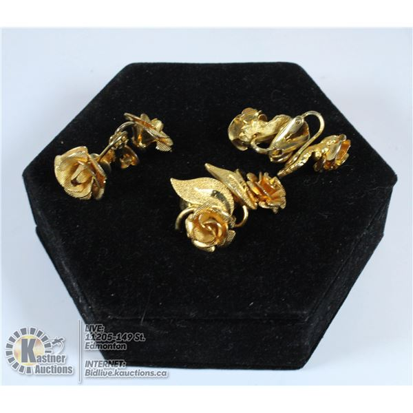 3 PAIRS OF VINTAGE 1950S GOLD ROSE EARRINGS CLIP