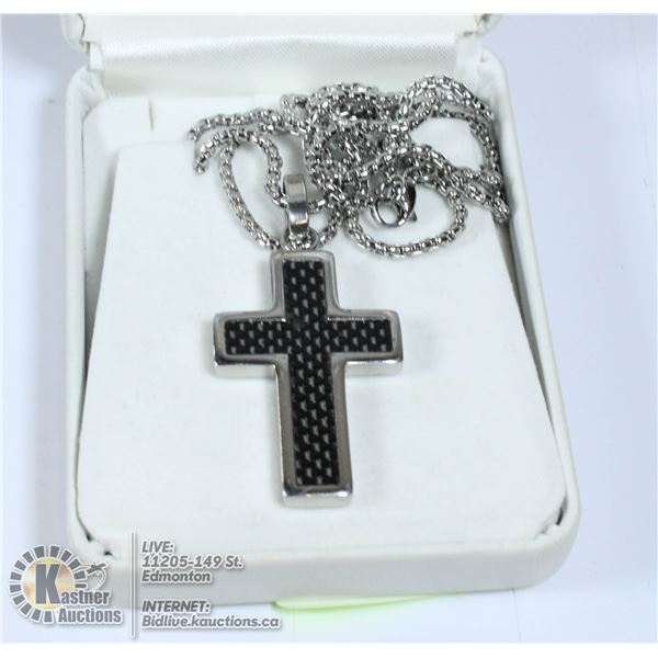 CROSS PENDANT AND CHAIN STAINLESS STEEL MARKED