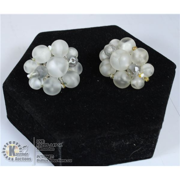 SIGHED PAIR OF FROSTED BEAD CLIP ON EARRING