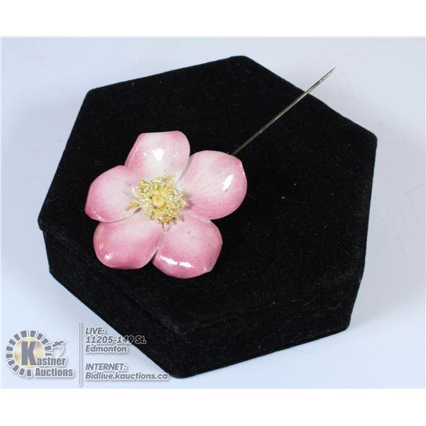 PORCELAIN PINK FLOWER PIN SIGNED