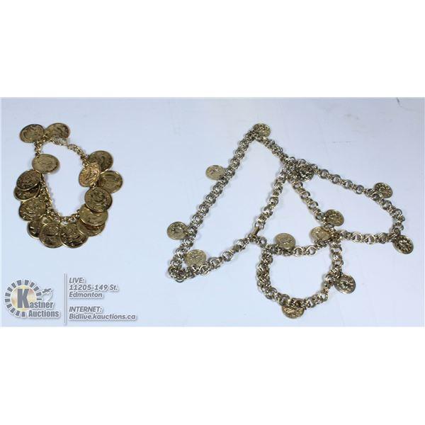 TWO ROMAN COIN BRACELETS GOLD TONE