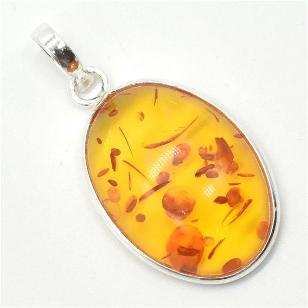 SV-73 SILVER AMBER (RECONSTITUTED) PENDANT