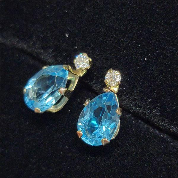 MZ6-29 10K  BLUE TOPAZ MOISSANITE EARRINGS