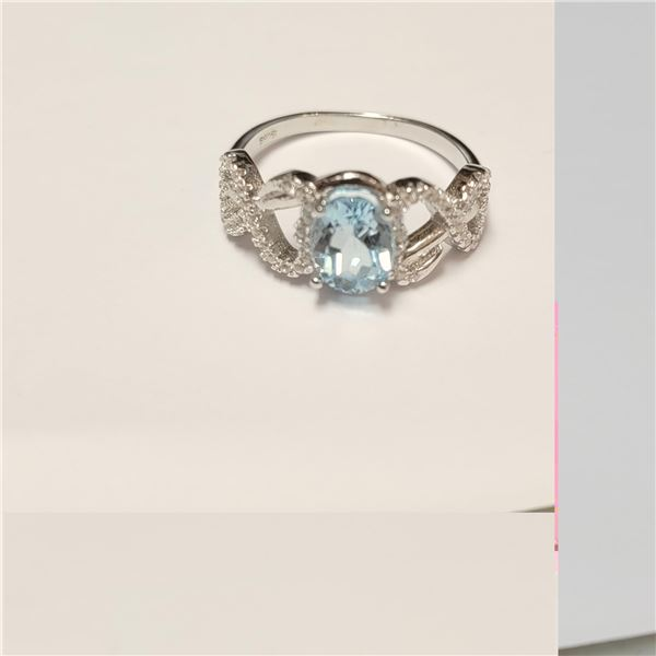 BZ390-107 SILVER BLUE TOPAZ RING