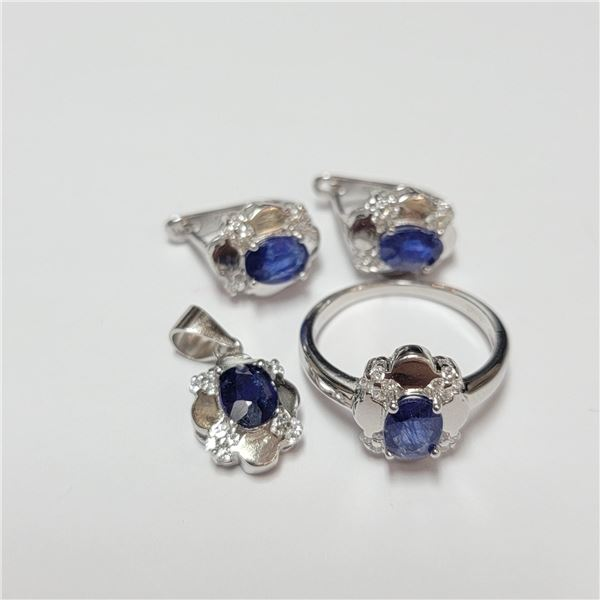 BZ390-123 SILVER SAPPHIRE RING EARRING AND PENDANT