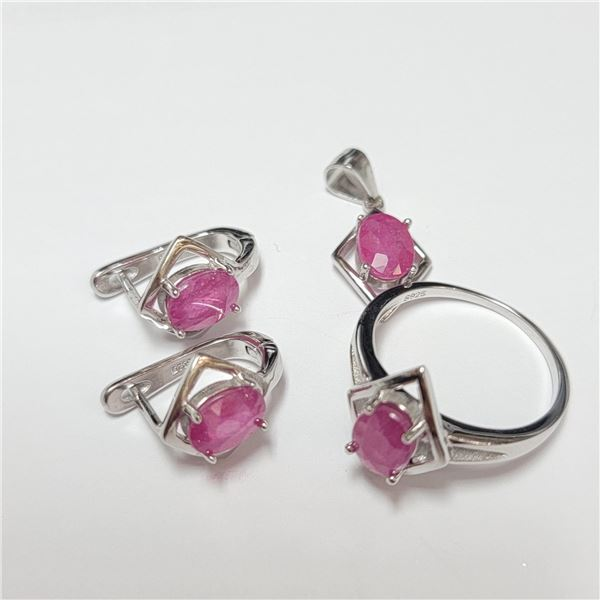 BZ390-126 SILVER RUBY RING EARRING AND PENDANT  SE
