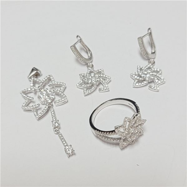 BZ390-128 SILVER CZ RING EARRING AND PENDANT SET