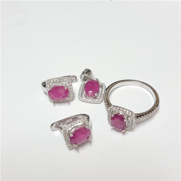 BZ390-141 SILVER RUBY RING EARRING AND PENDANT  SE