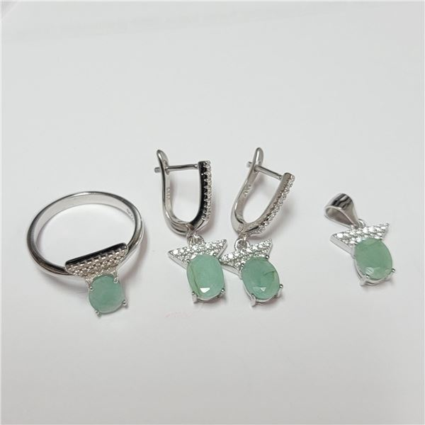 BZ390-132 SILVER EMERALD RING PENDANT AND EARRING