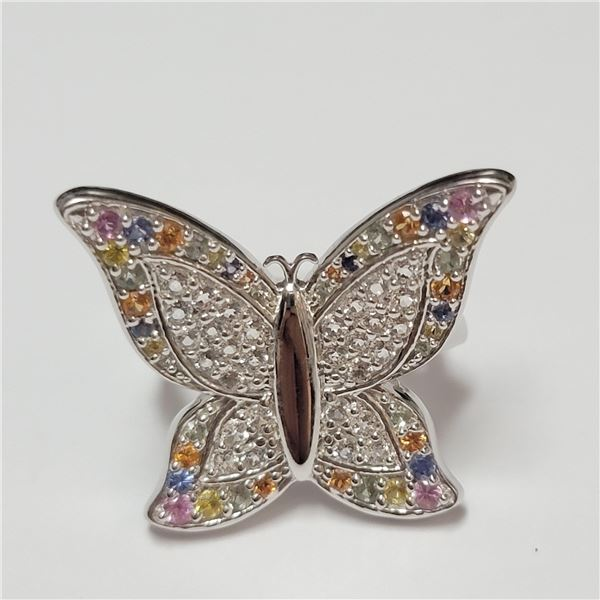 BZ390-104 SILVER FANCY COLOR SAPPHIRE RING