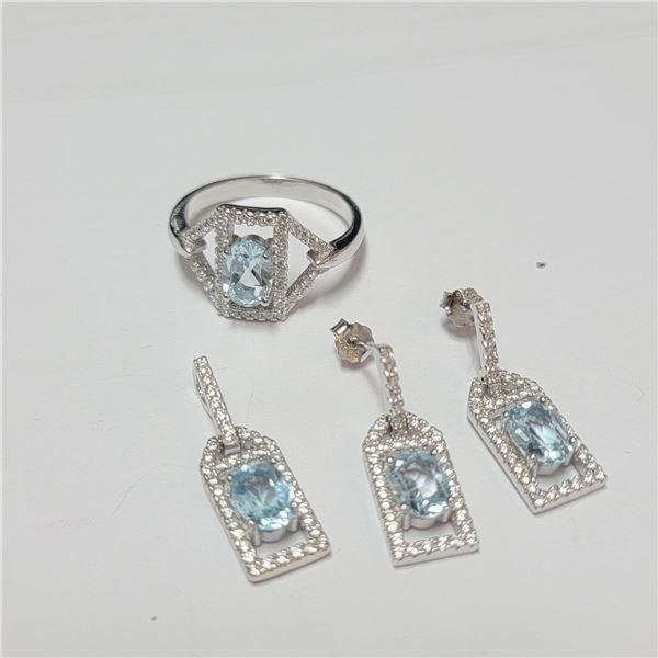 BZ390-113 SILVER BLUE TOPAZ RING EARRING AND PENDA