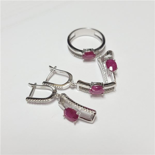 BZ390-108 SILVER RUBY RING EARRING AND PENDANT  SE
