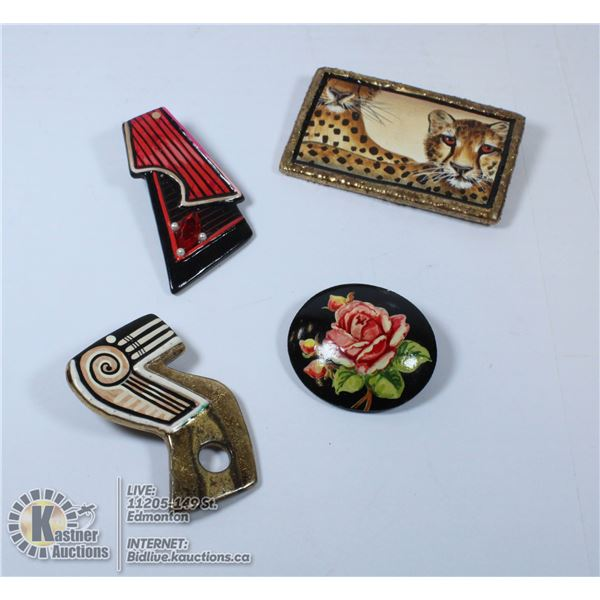 PAINTED BROOCHES SIGNED BY EDMONTON THE ARTIST