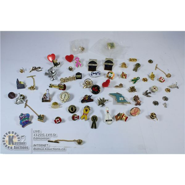 BOX CONTAINING ANTIQUE PINS FROM AROUND THE WORLD