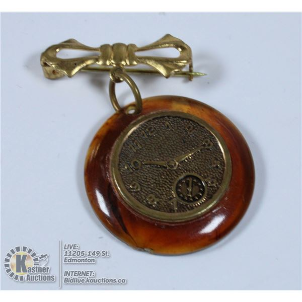 VICTORIAN CLOCK BROOCH WITH A C CLASP