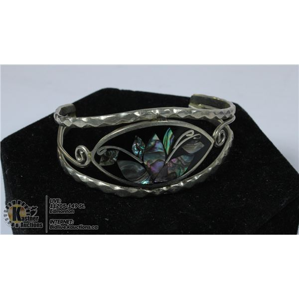 SILVER BRACELET WITH INLAYED ABALONE MARKED