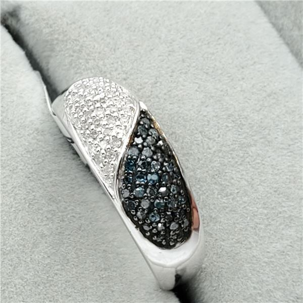 EC201-104 SILVER BLUE&WHITE DIAMOND RING