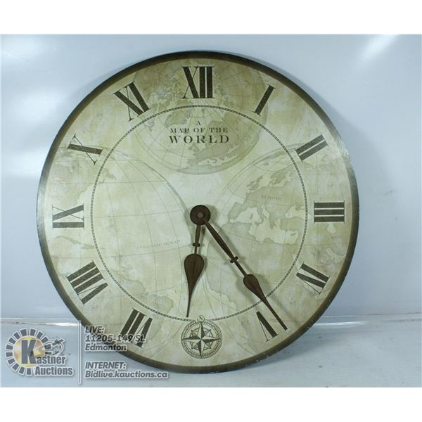 16 INCH MAP OF THE WORLD WALL CLOCK (WKG)