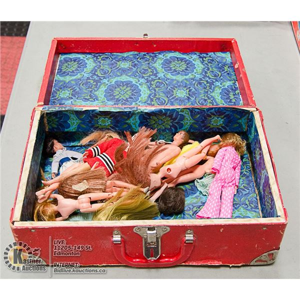 RED BOX WITH VINTAGE DOLLS