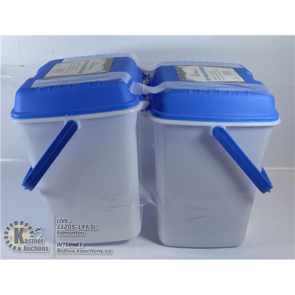 LOT OF TWO 2 GALLON PET FOOD BINS WITH CARRY