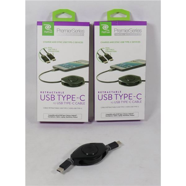 3 USB TYPE C  CHARGE & SYNC RETRACTABLE CORDS